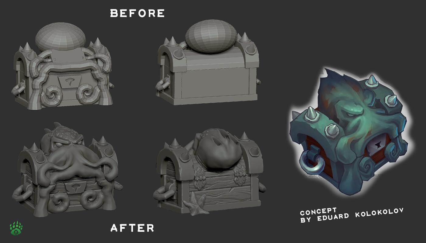 Before / After sculpt process