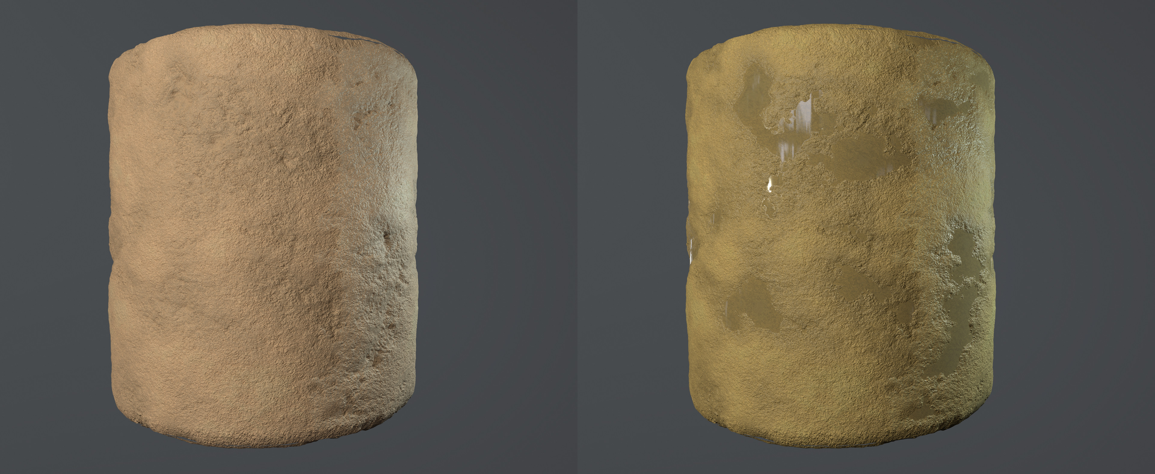 I made a material in Substance Designer; one with more puddles of water and one completely without. They were then used to paint the terrain in the first section of the game.