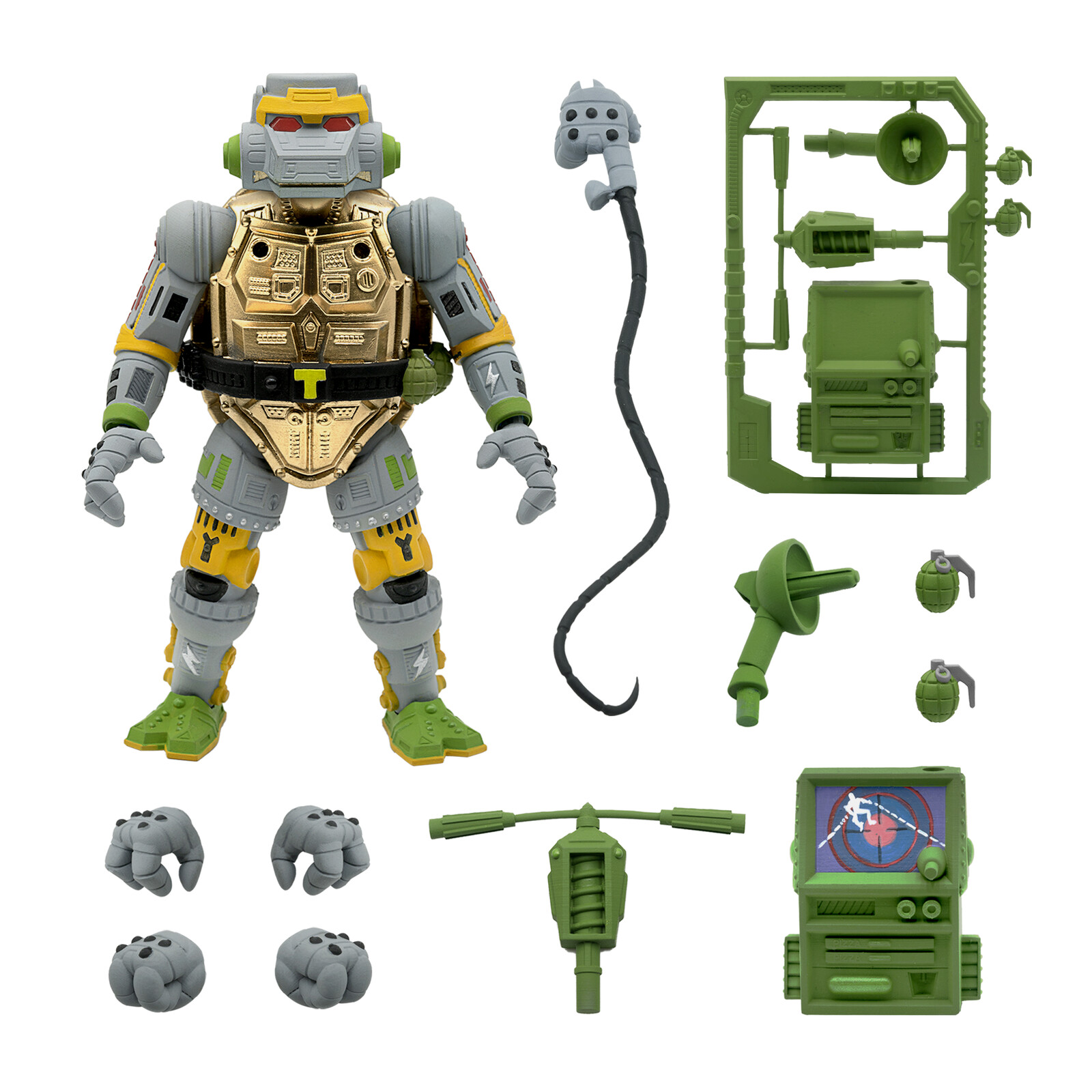 SUPER 7 Wave 3 TMNT Metalhead and accessories.