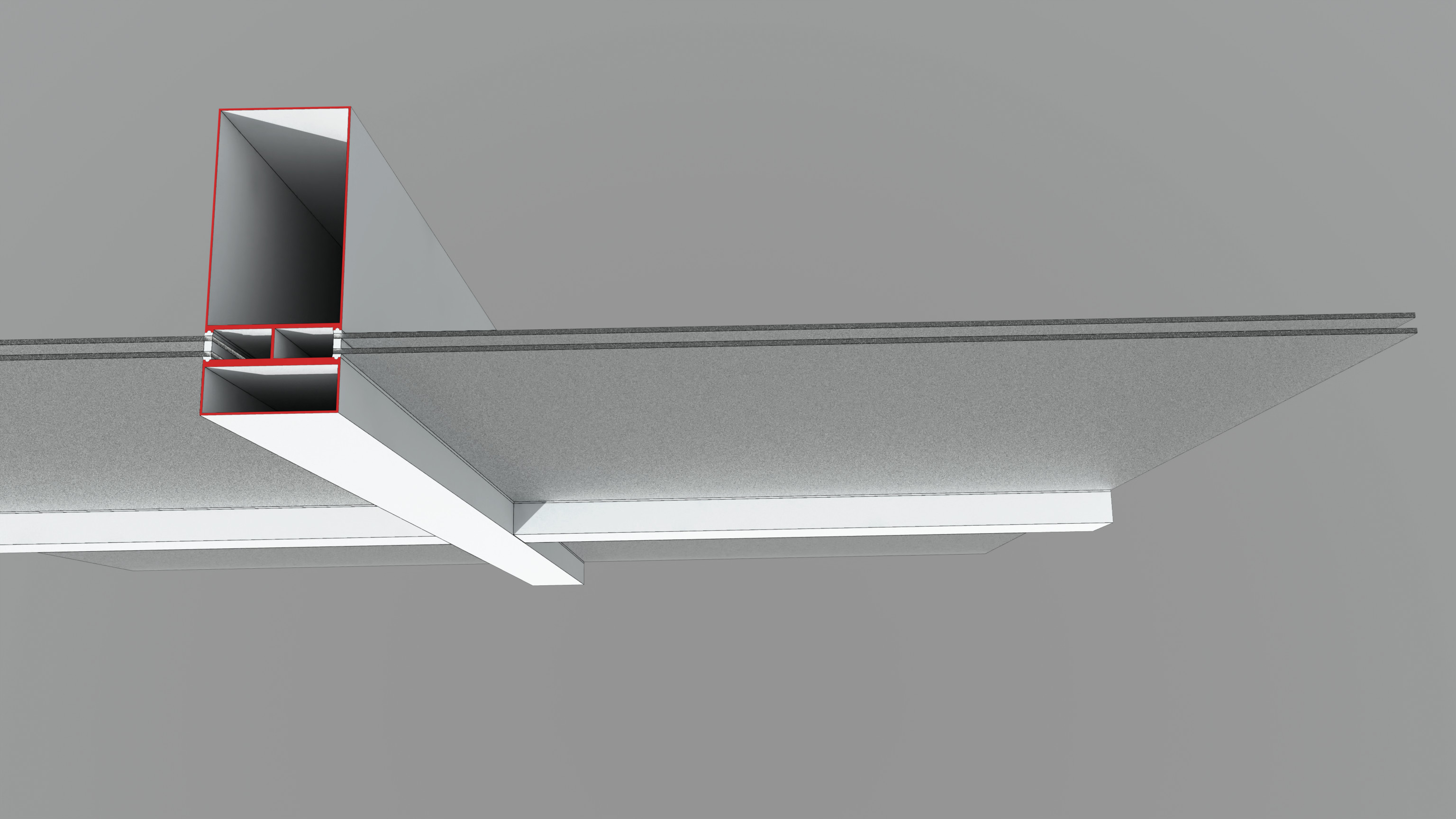 Façade system intersection with sectioned metal mullion profiles: cel-edge shader for clarity