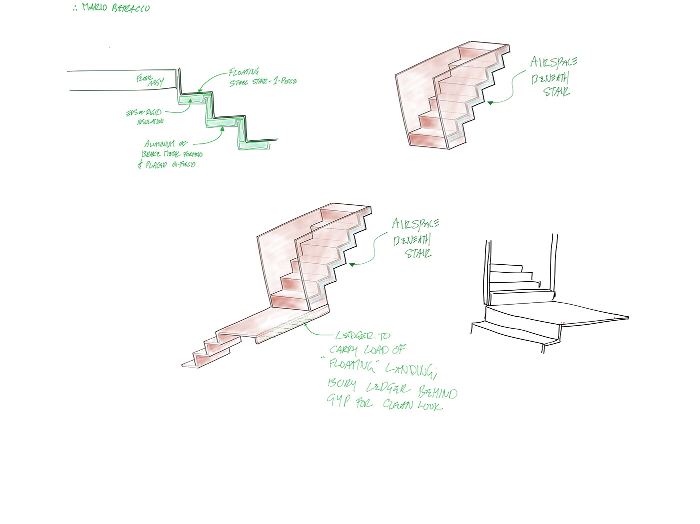 Here is the hand-drawn sketch originating those stair ideas: as you can see, computers are not required for 3D thinking. That's how a designer should think to begin with!