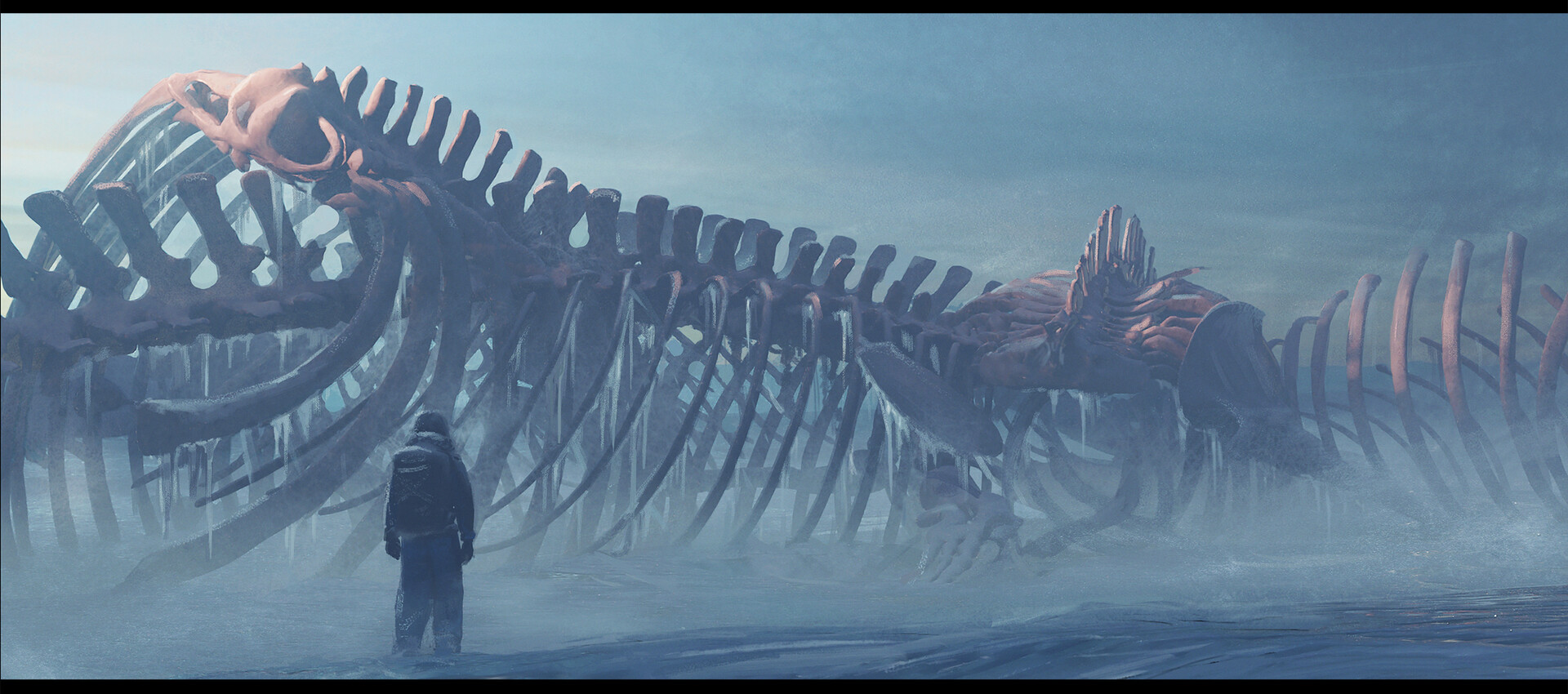 Outside of the village, the crew discovers a massive boneyard. It looks like the remains of whale carcasses, but they are placed in such a way it almost feels like a shrine.