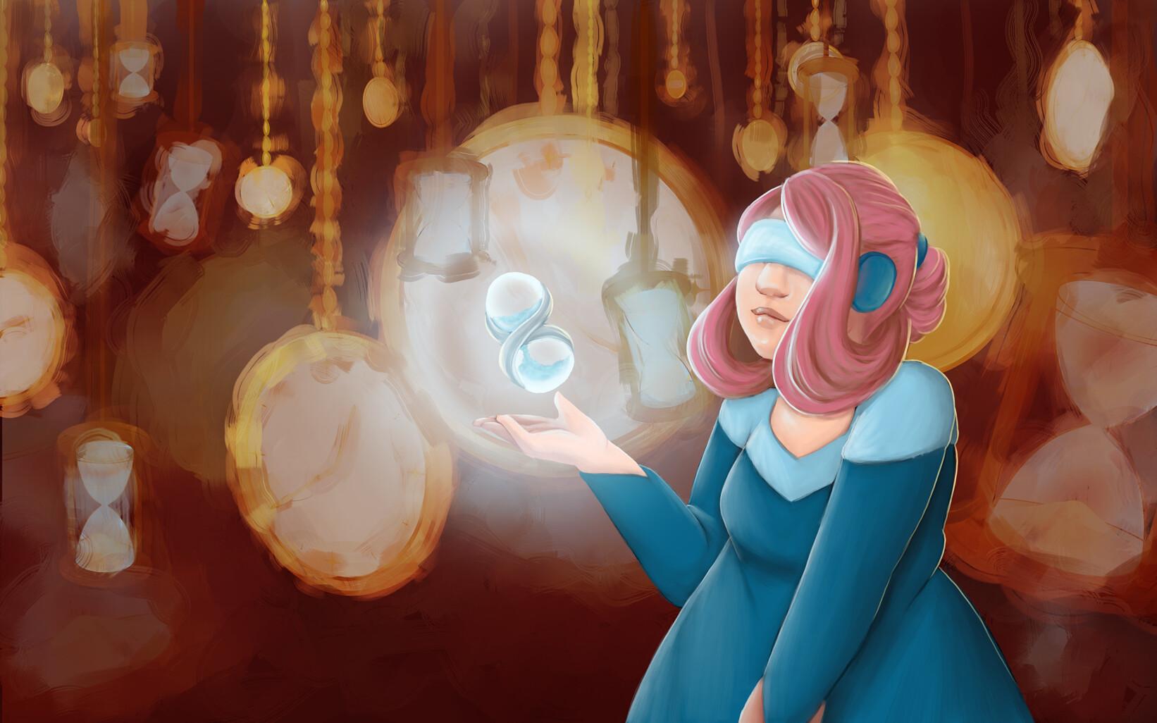 Imagem finalizada. Mostra uma mulher de cabelos rosas preso num coque e vestido azul de mangas compridas e corte simples usando um visor sobre os olhos, escondidos pelo aparato. Ela possui uma ampulheta, que flutua suavemente sobre sua palma aberta e brilha num tom azulado. O fundo é uma confusão de relógios de bolso e ampulhetas pendurados por correntes.