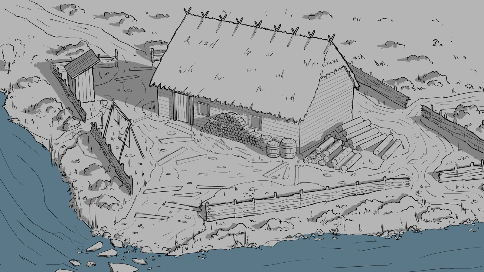 House by the river lineart Sketches