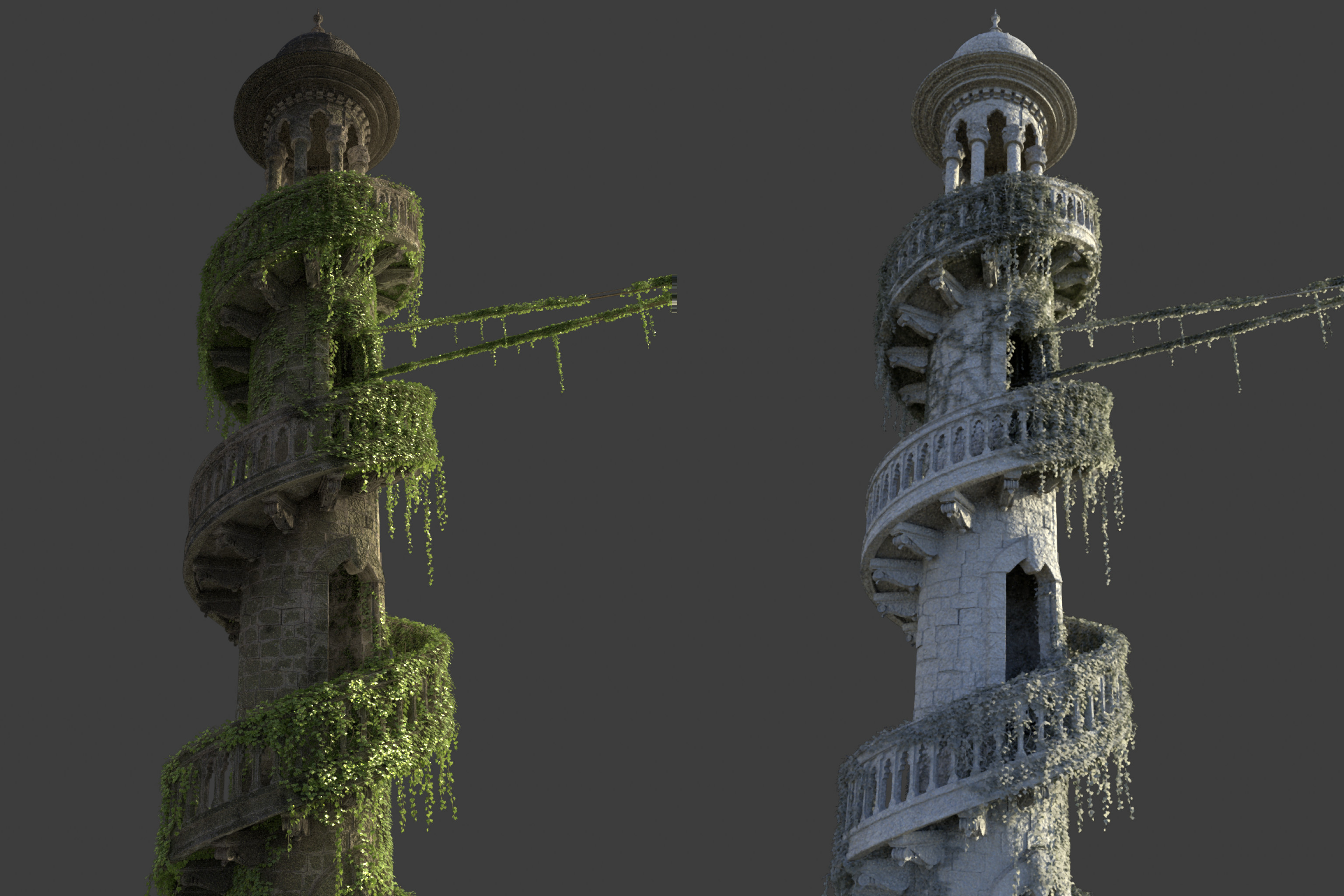 Tower lookdev with extra ivy growth