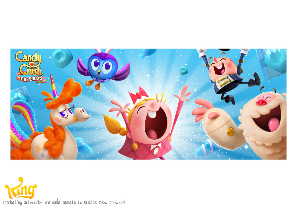marketing banner for Candy Crush Friends Saga. made using previously created assets