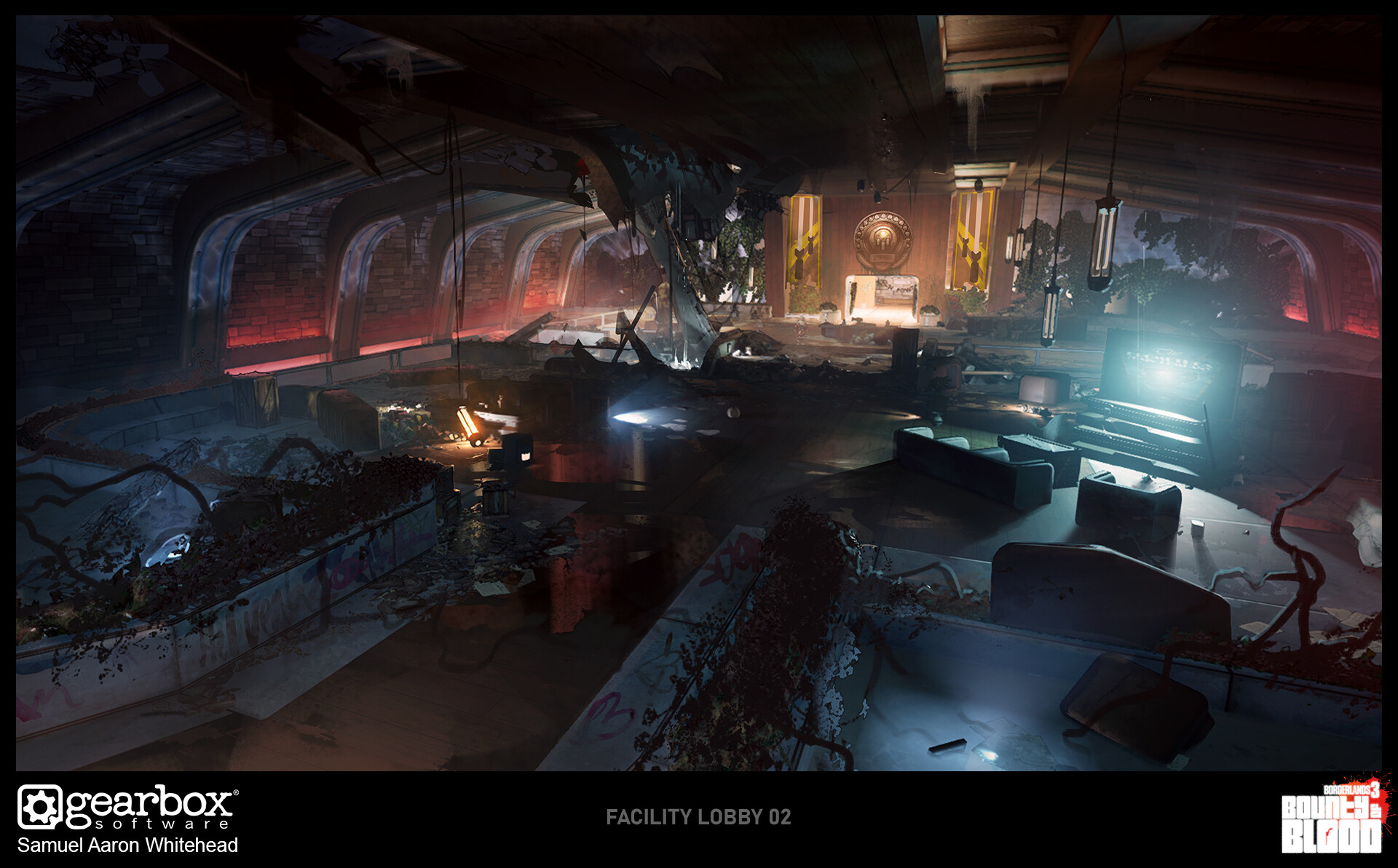 We didn't know how old or damaged the facility would be therefor some locations were designed pristine and were then layered with destruction. In this case the lobby has been completely trashed by the Devil Rider gang who might have used it for partying.