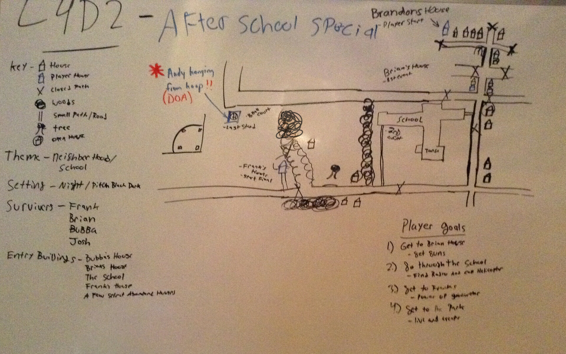 First concept was named After School Special, but eventually the school was redesigned as a military base to help with the zombie outbreak and so the name Bad Neighborhood was used.