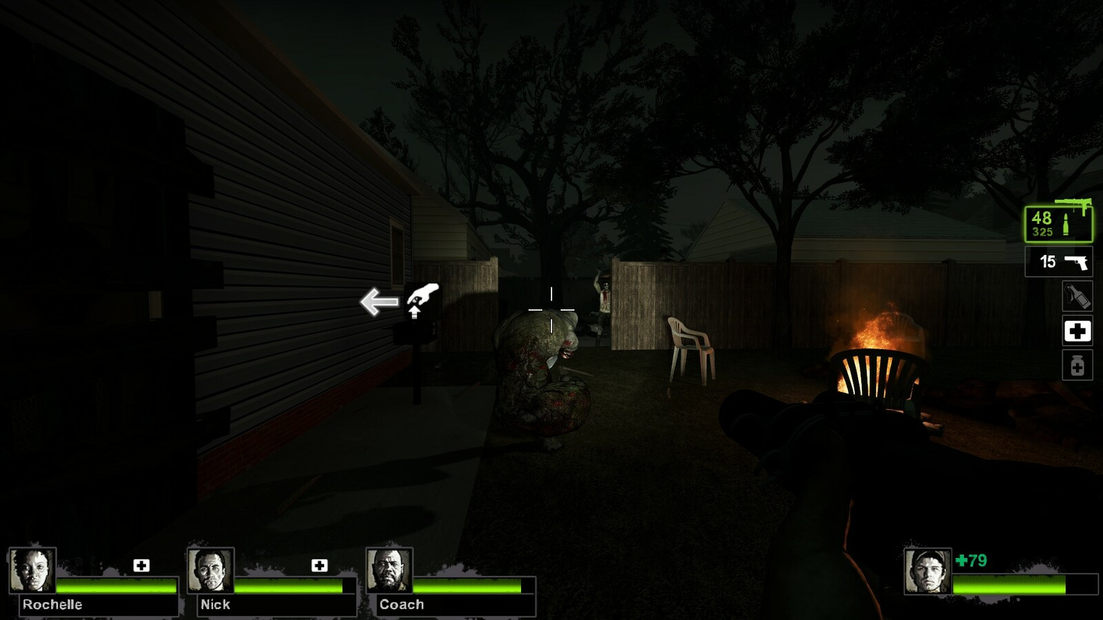 A charger spawner for players, this charger will smash through the fence and surprise players who go to the right of the safe house direction marker on the house. This then allows players to move through to the next backyard from the opening.