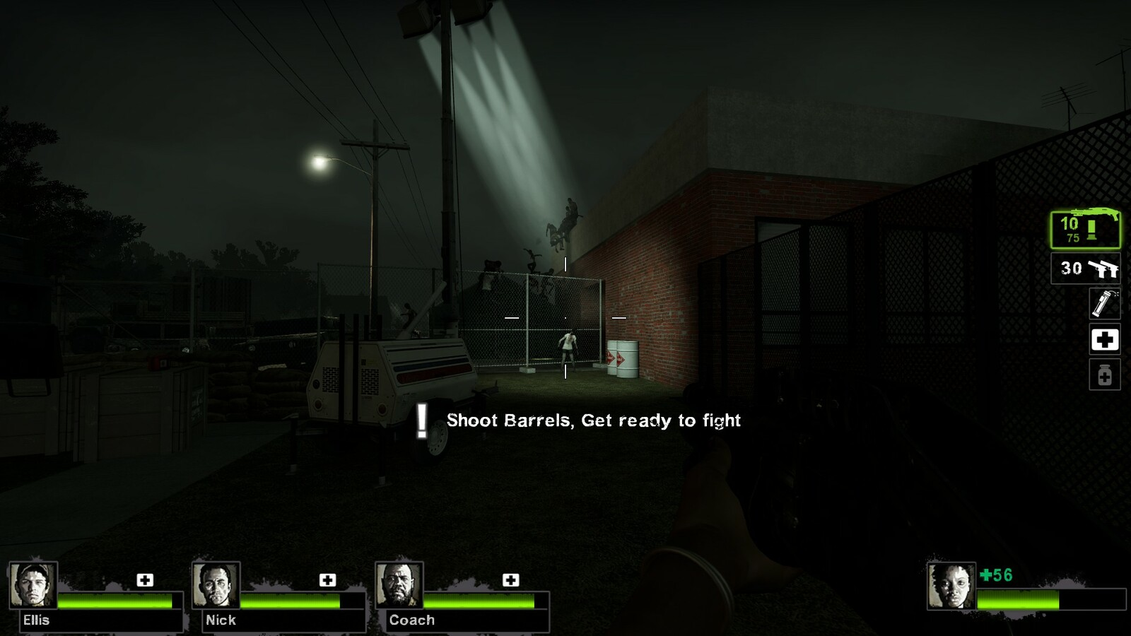 The first event, shown by an onscreen nav point and lighting. Players must shoot these explosive barrels to break into the school building.
