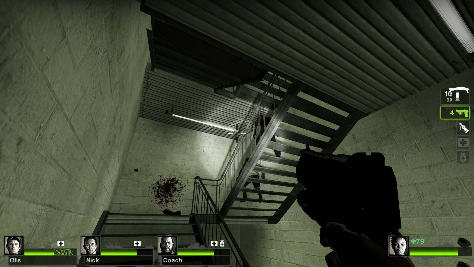 First introduction to verticality. Players might fight zombies as they make their way up to the roof as the doors leading out are all locked tight.