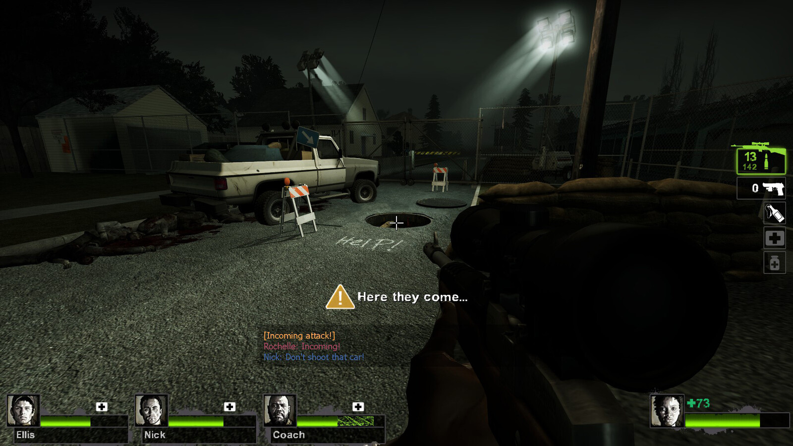 Players are finally directed down with lighting, arrow signs and spray paint to move underground to escape.
