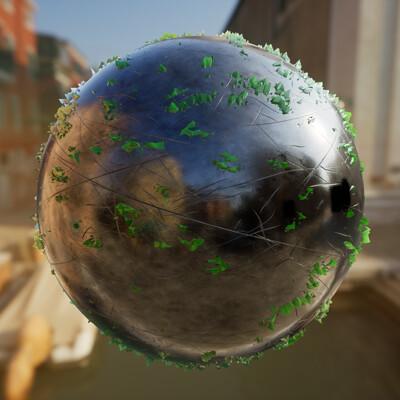 Joshua pelkington greencrystalswornmetal sphere