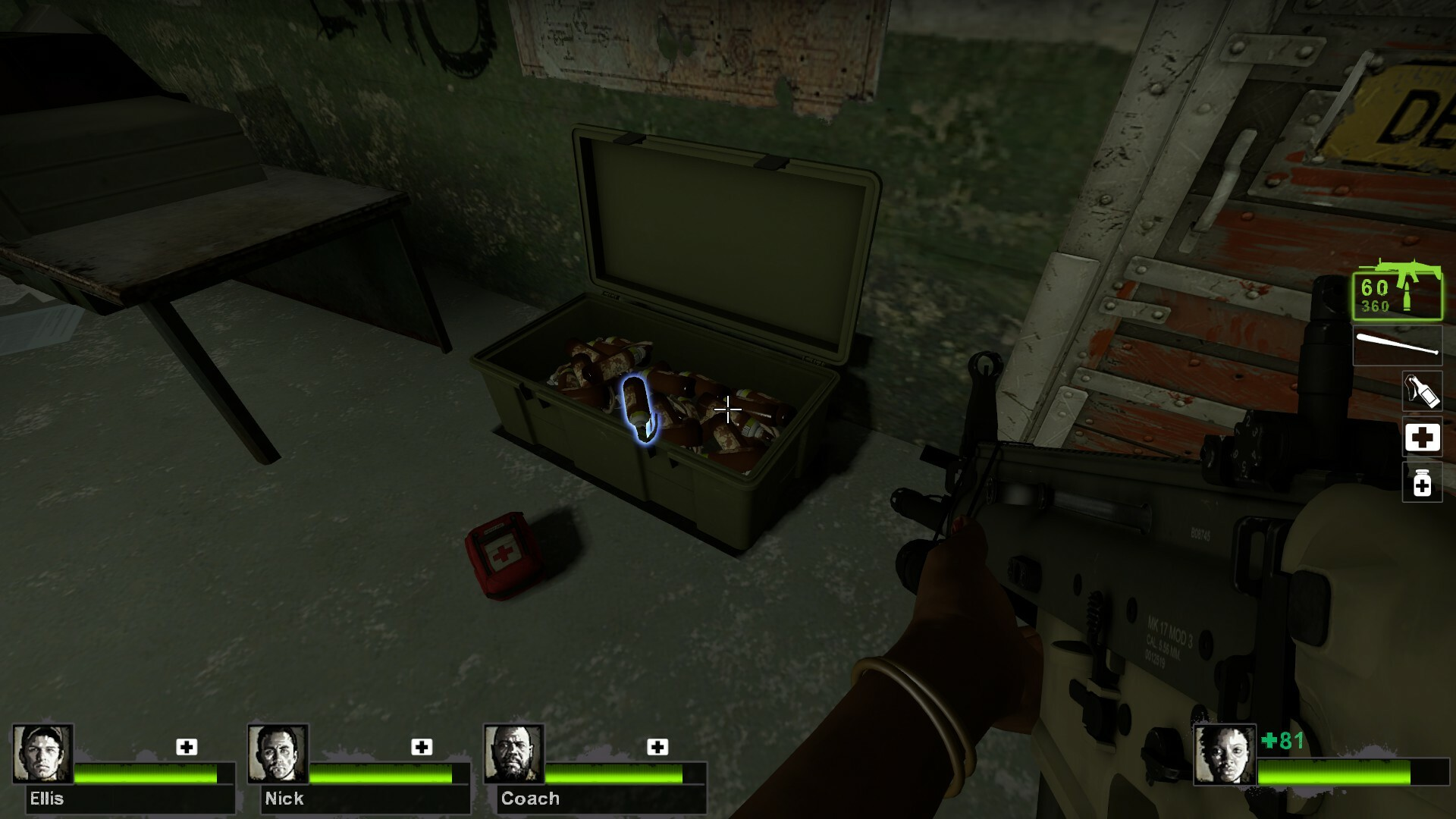 The third safe house has upgraded weaponry and supplies found from the previous level.