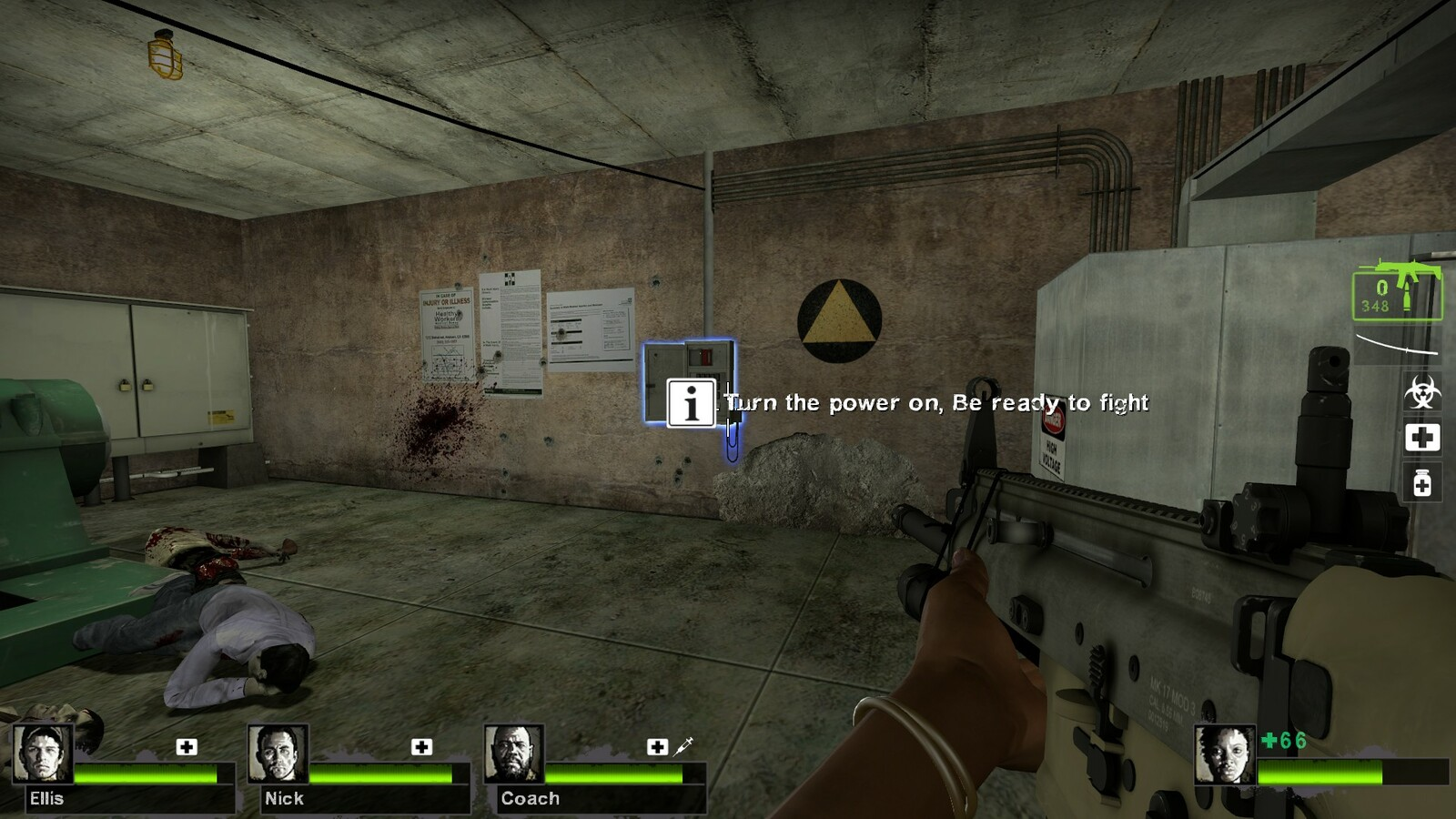 After the fight with the Tank, players must turn on the power in order to activate the lift to move forward out of the sewers. Doing so will alert all zombies to swarm the players position.
