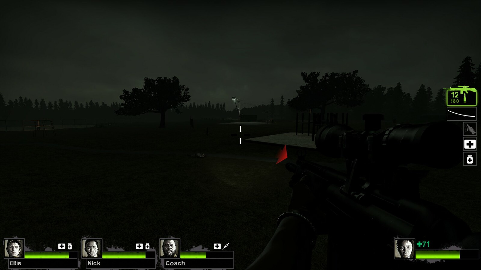 Light in the distance, directing players to the basketball court where they will find a military truck with a radio to call for help.