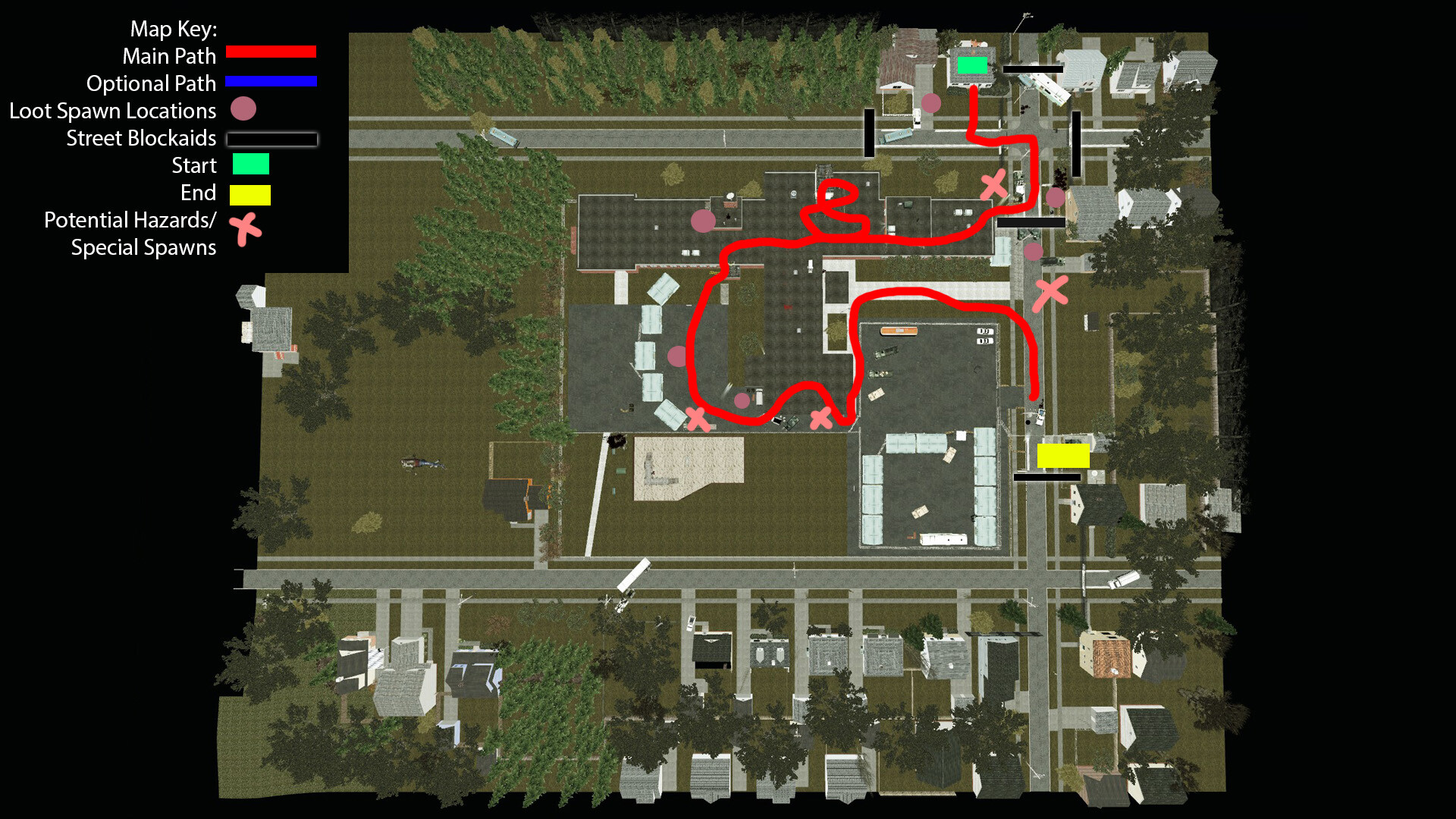 Top down view of the School level. Players must follow the red path to reach the safe house, but there are several areas around where players can explore to find additional supplies and story elements.