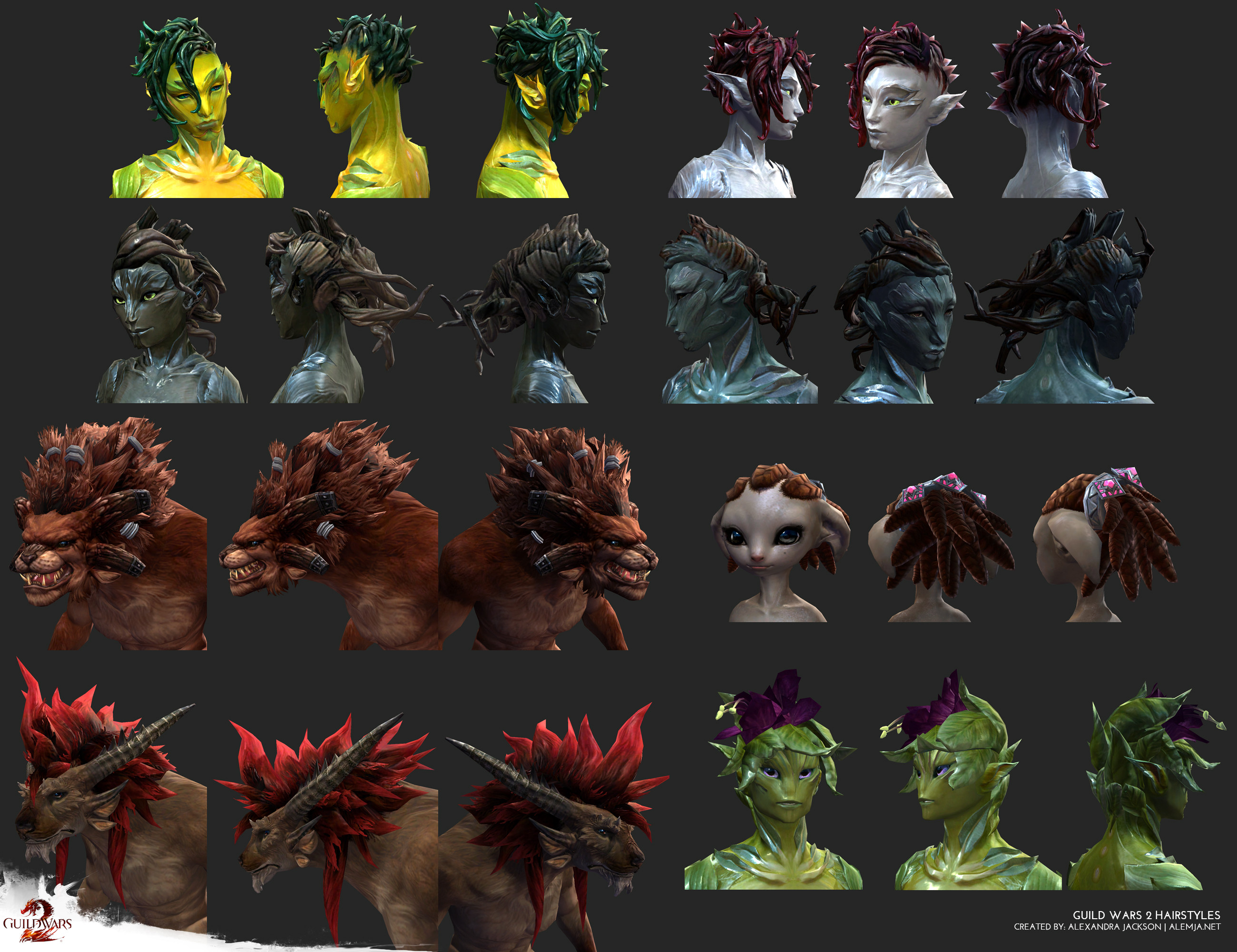 Hairstyles I created for various races that where released for Guild Wars 2. I concepted, sculpted modeled and textured each of them