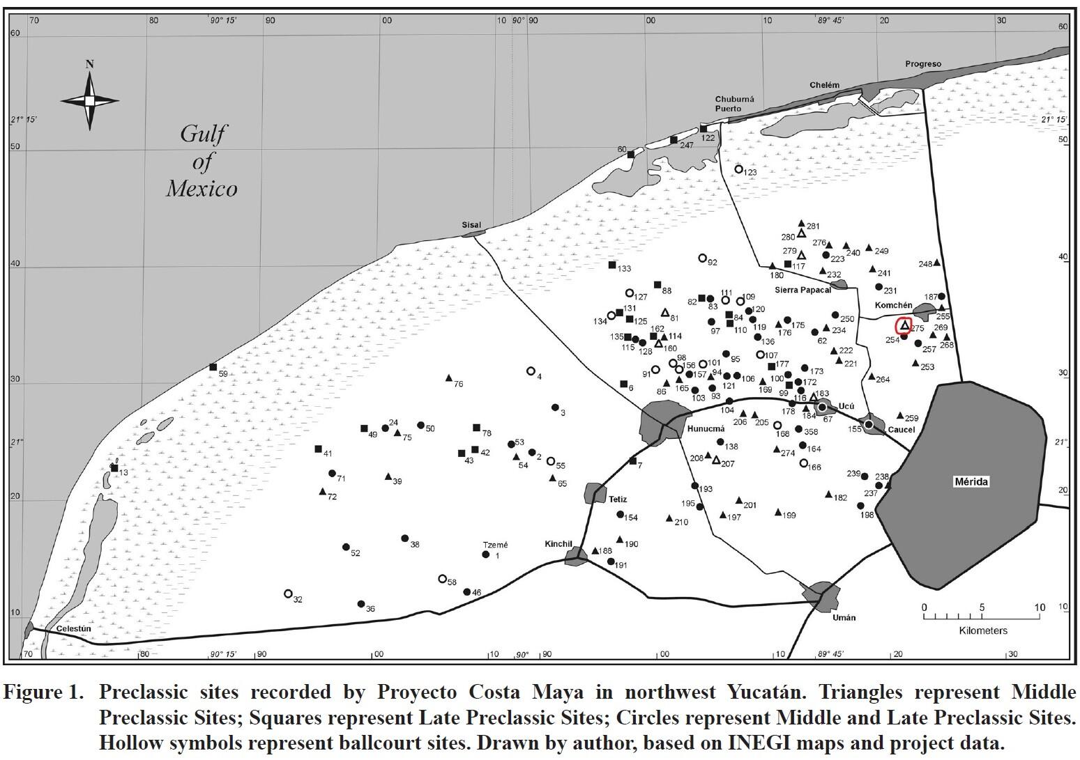 La cancha de pelota más cercana a Komchén es Sin Nombre PCM-275, localizado a cuatro kilómetros hacia el suroeste, por lo tanto, se infiere que los habitantes de Komchén estuviesen ligados a esta cancha de pelota. Mapa: D. Anderson (2005)
