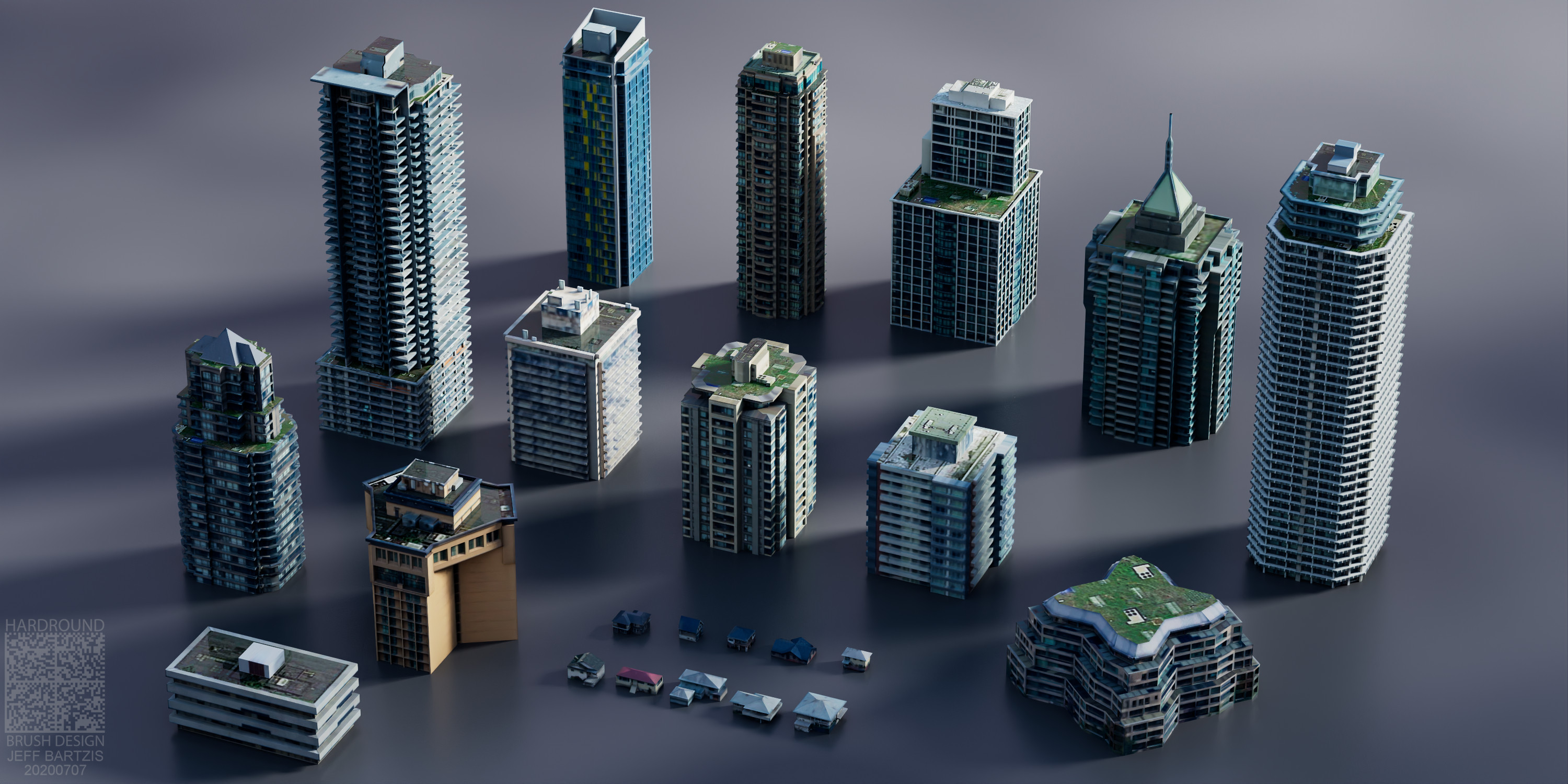 Low Poly building assets - modeled from textures