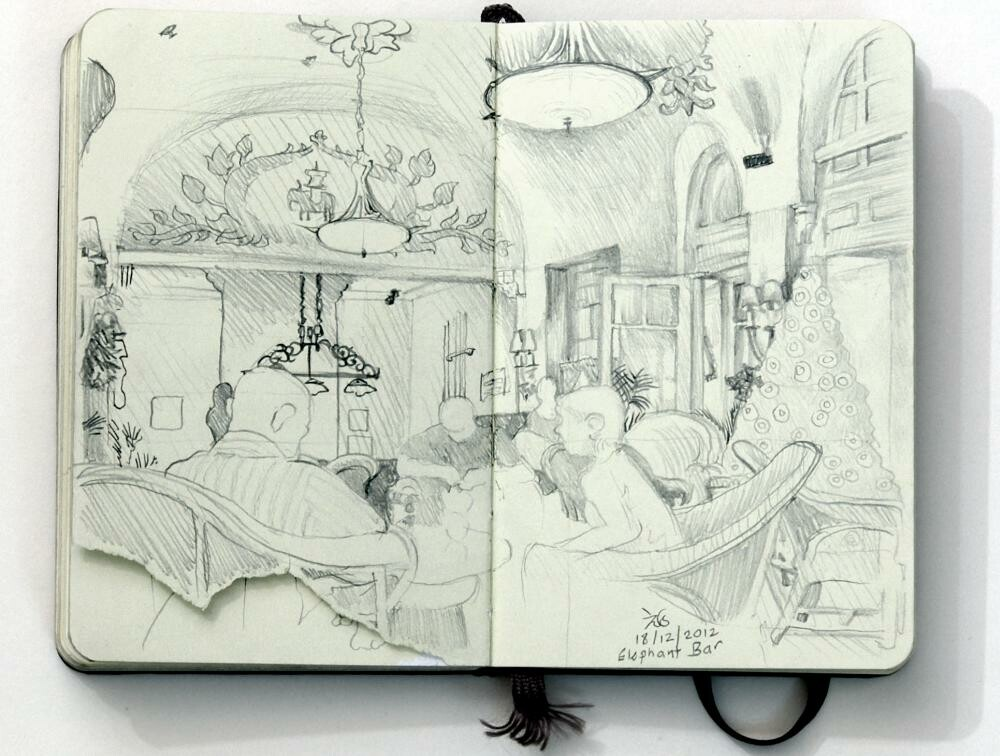 Sketched in the Elephant Bar at the Raffles Hotel Phnom Penh while sipping a femme fatale.