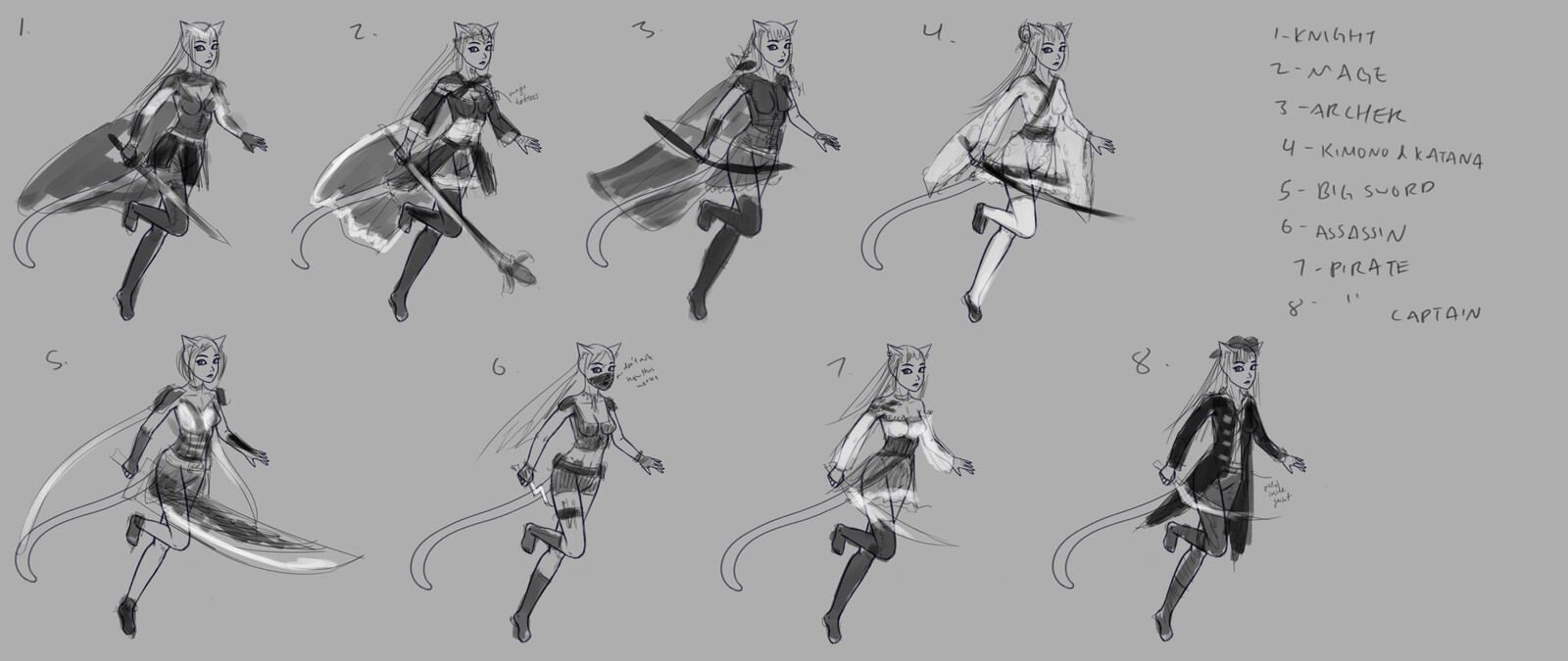 """Initial rough brainstorm, as I couldn't decide what """"class"""" to make my character.  Focus was on silhouette and values."""