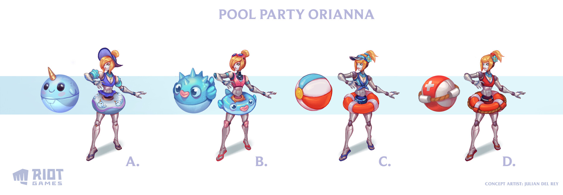 Pool Party skins Orianna concept explorations ©Riot Games