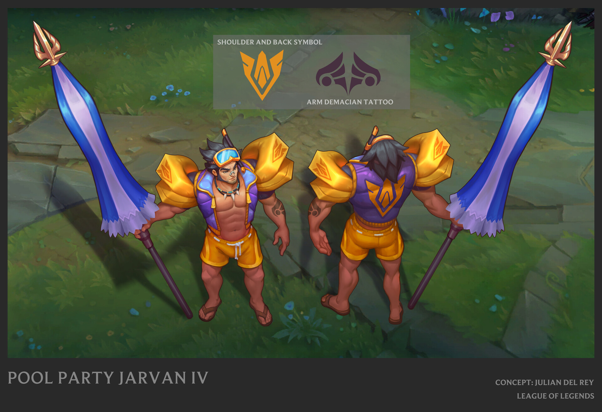 Pool Party Jarvan final concept in game ©Riot Games
