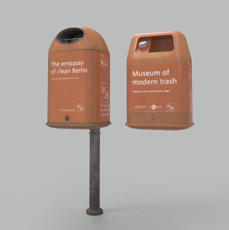 Berlin Trash Bin Used Render