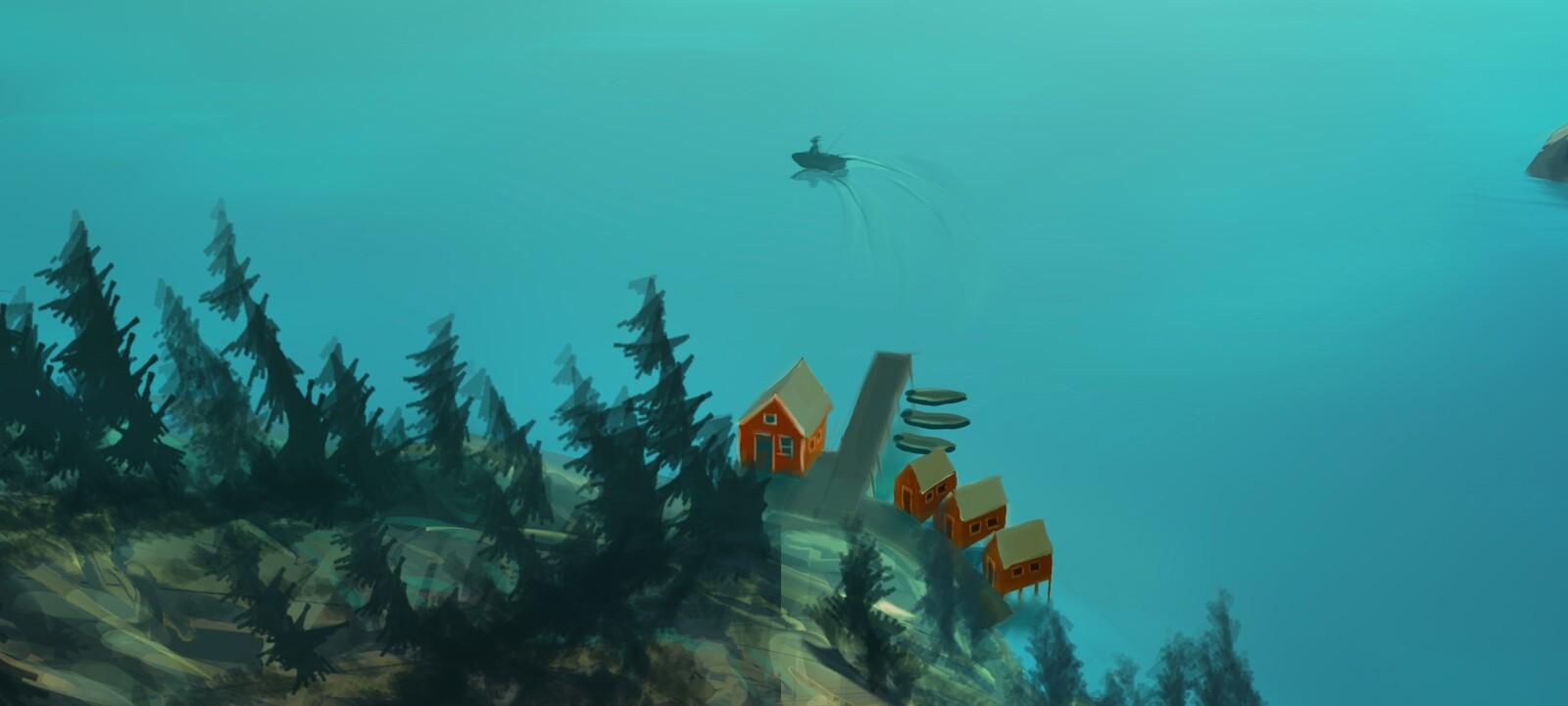 just below horizon - detail2 fishing lodge