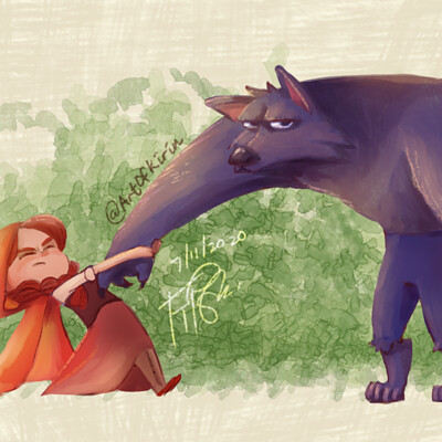 Kirin art red and wolf