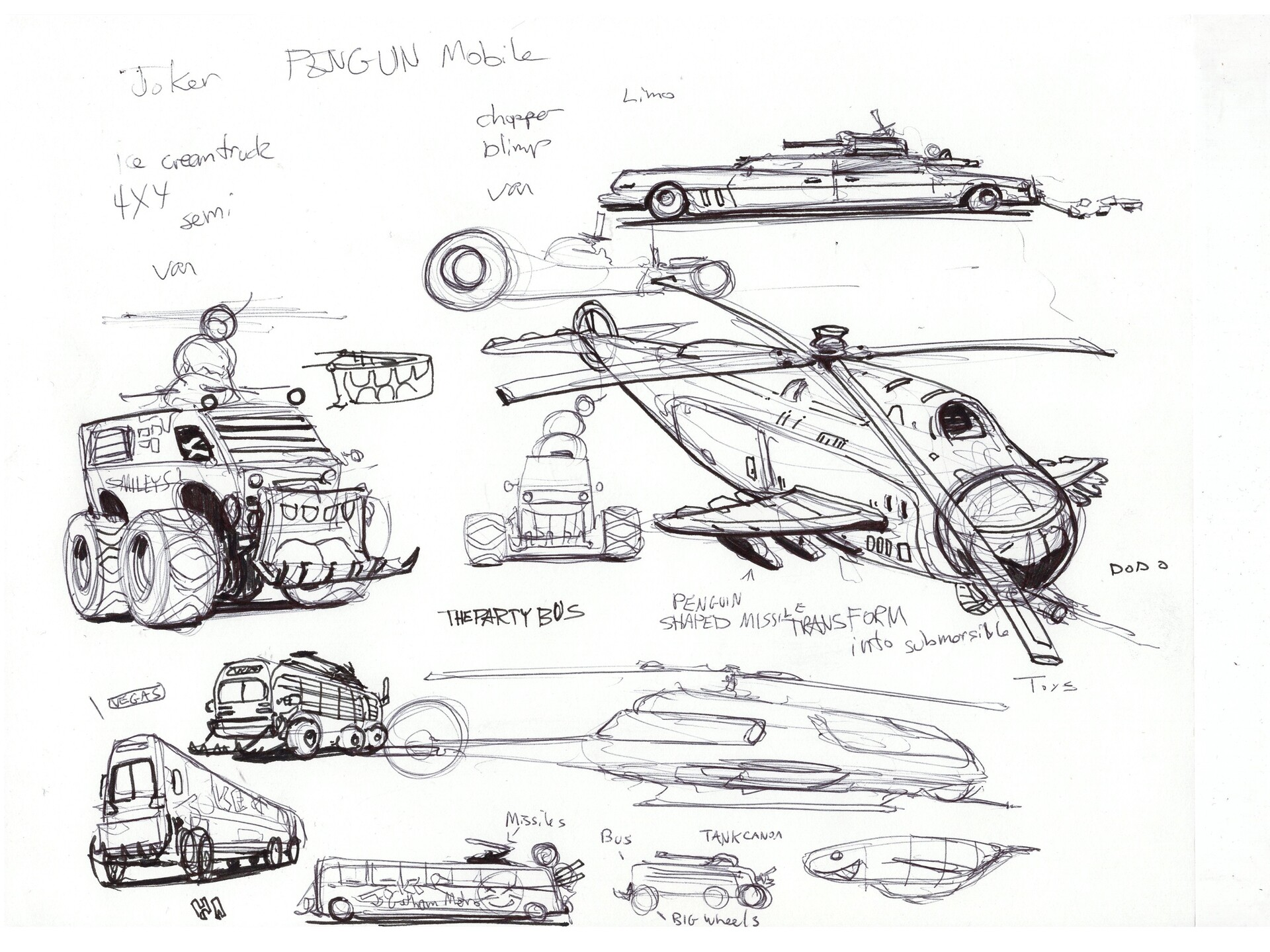 Brainstorming vehicle designs for the joker and penguin in my version of Gotham.