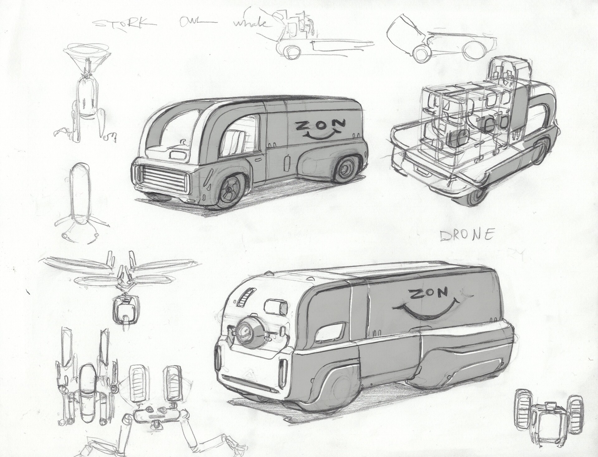 An autonomous van design that goes into neighborhoods and deploys small delivery drones.