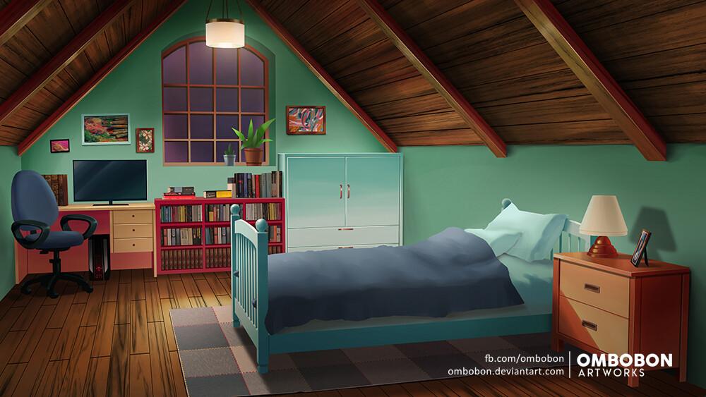 Artstation Anime Background Attic Room Om Bobon