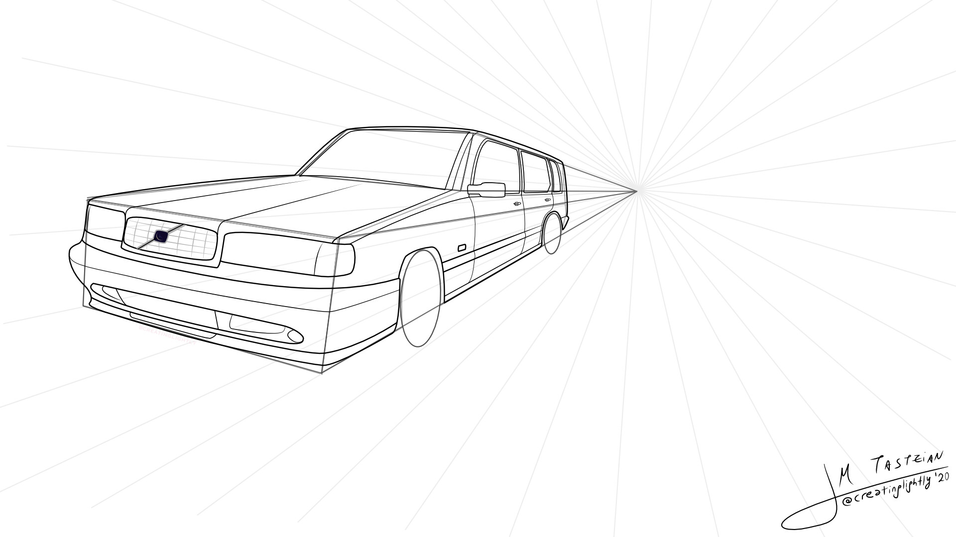 Sketch with perspective grid lines