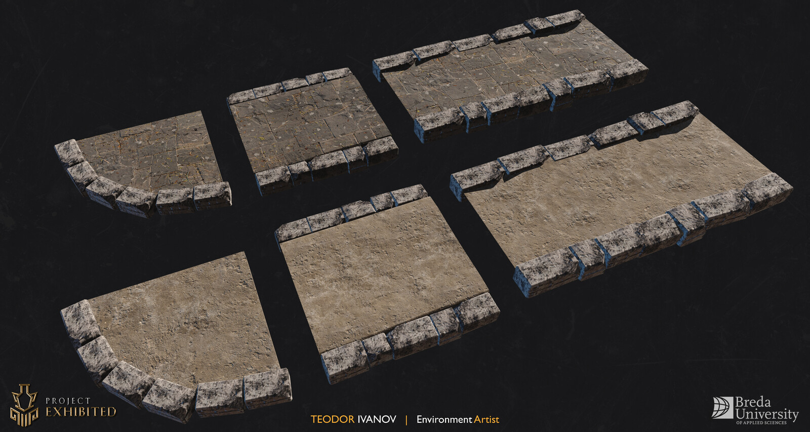 Paths modular set. Stone material done in Quixel Mixer and Concrete material done with Photogrammetry.