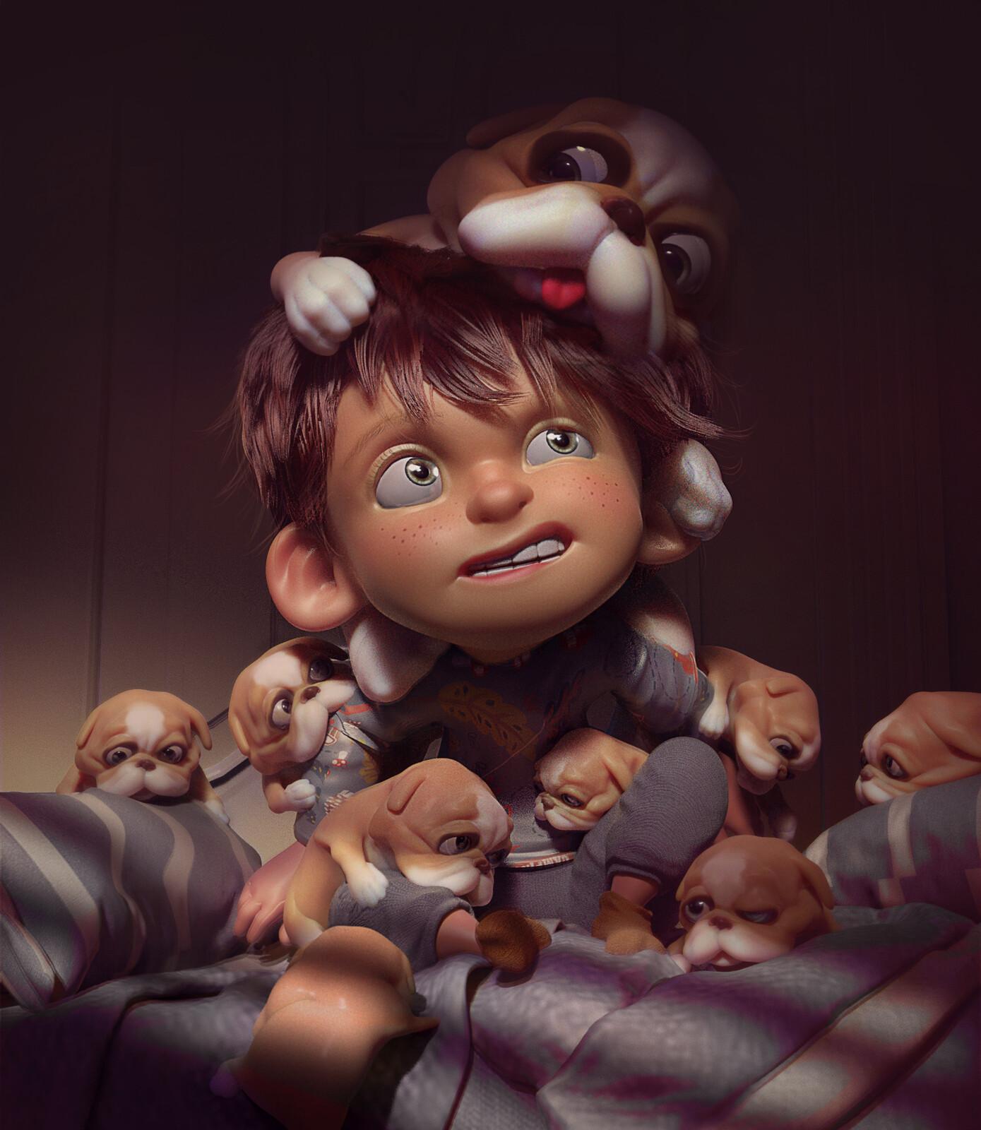 Kid & Puppies
