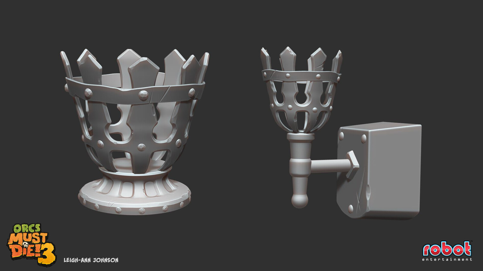 Brazier and Torch High Poly Sculpts