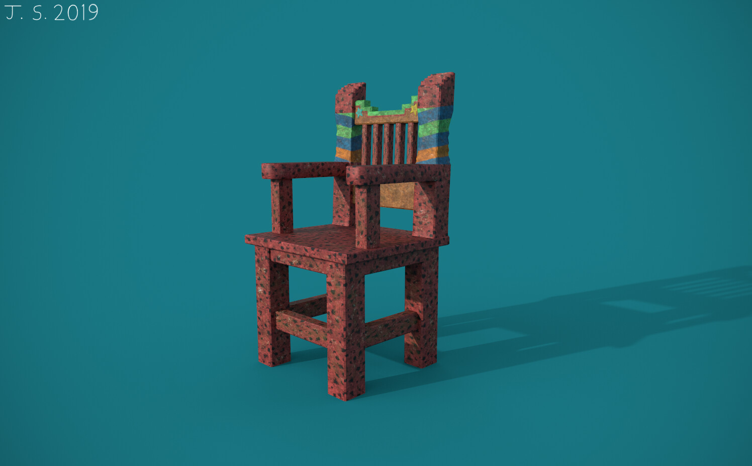 Aztec-Styled Chair Substance Painter Render