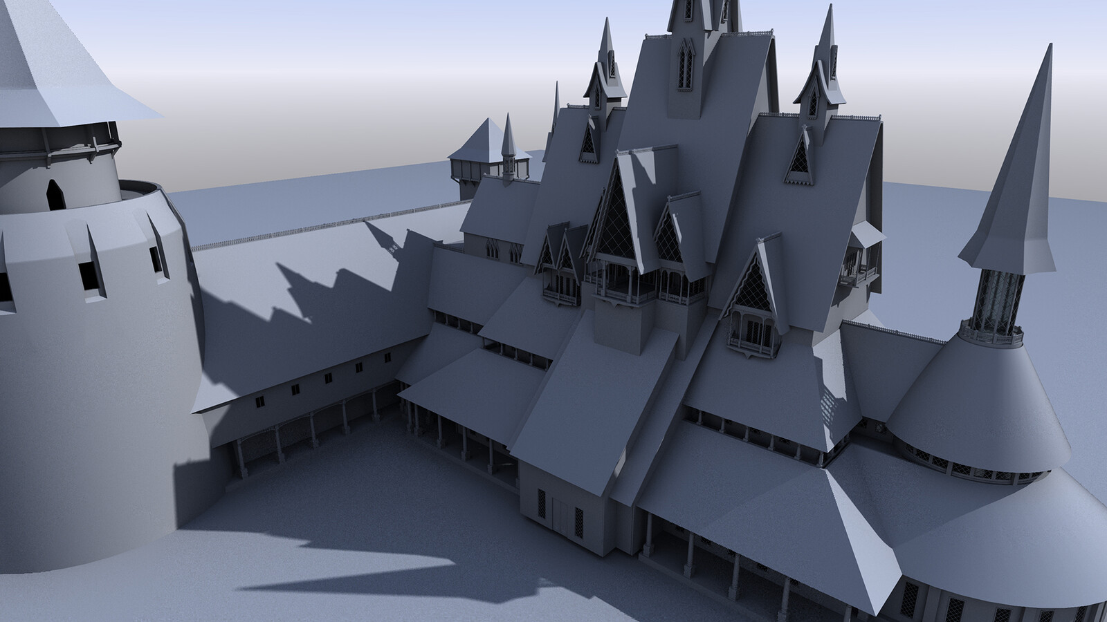 Arendelle - Side building and detail added - Rear Court