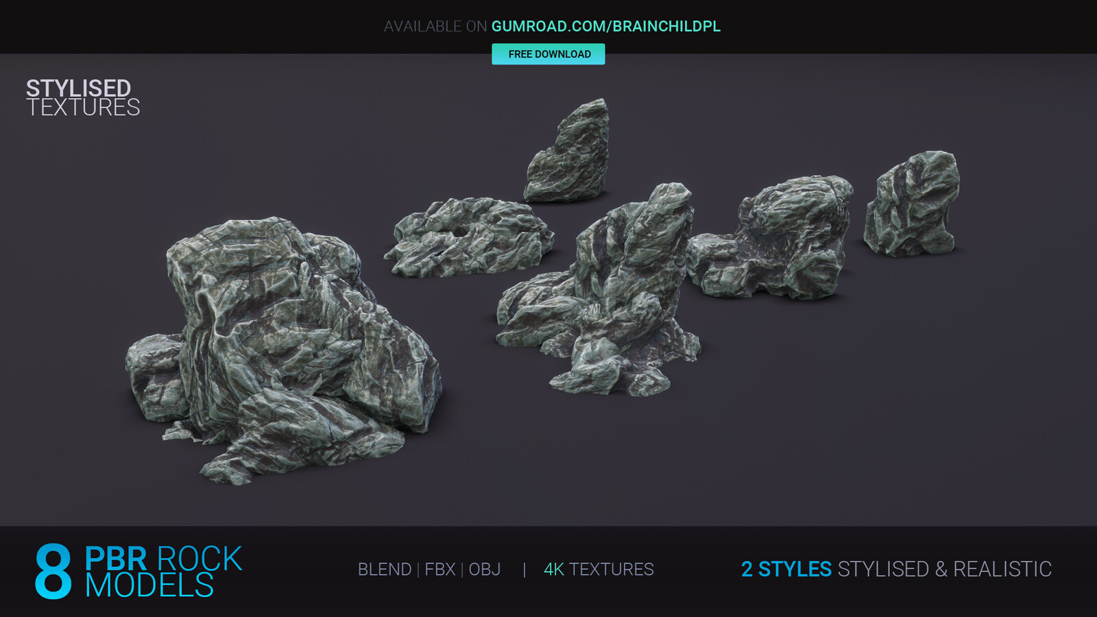 FREE 8 PBR Rocks in 2 styles: Stylised  & Realistic | Free Download | 3d game art