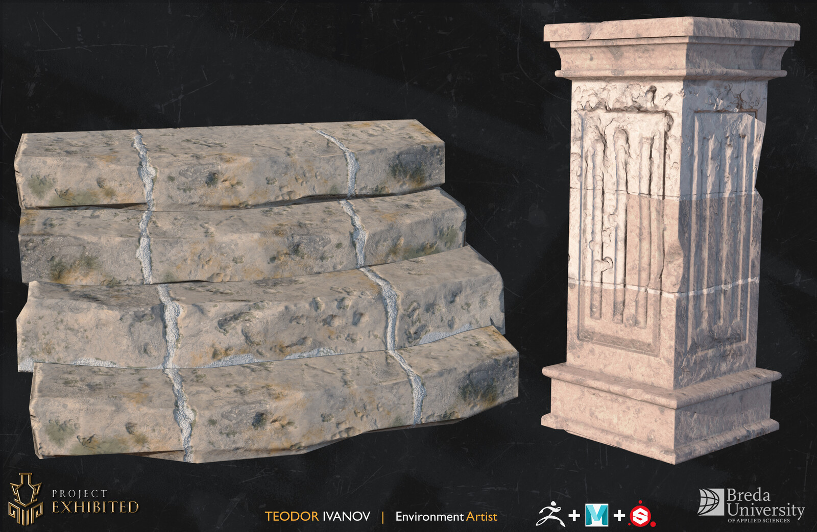 Maya for blockout and retopology, ZBrush for high-poly detail and Substance Painter for baking and quick texturing.