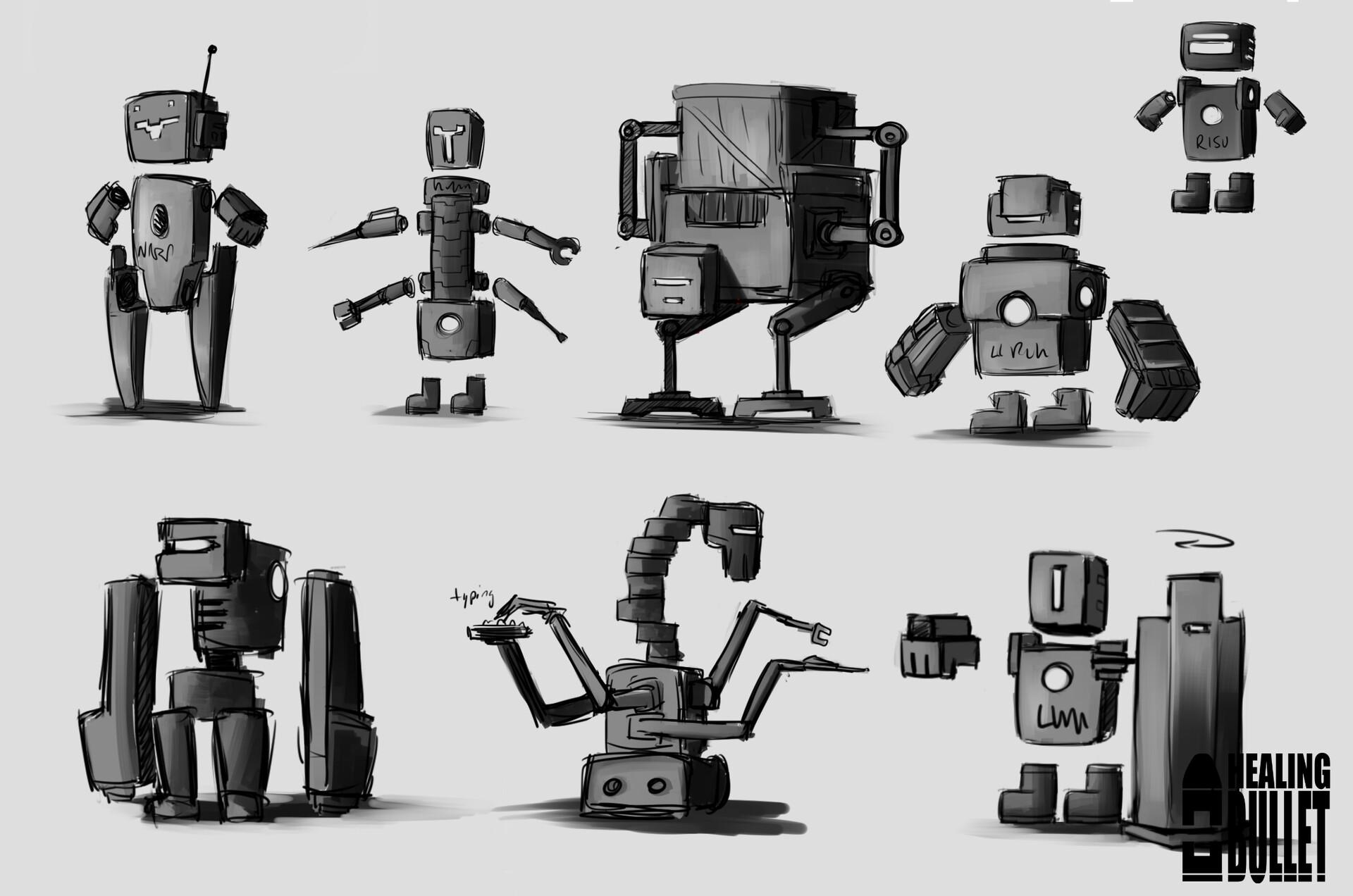 Concept art for robot NPCs