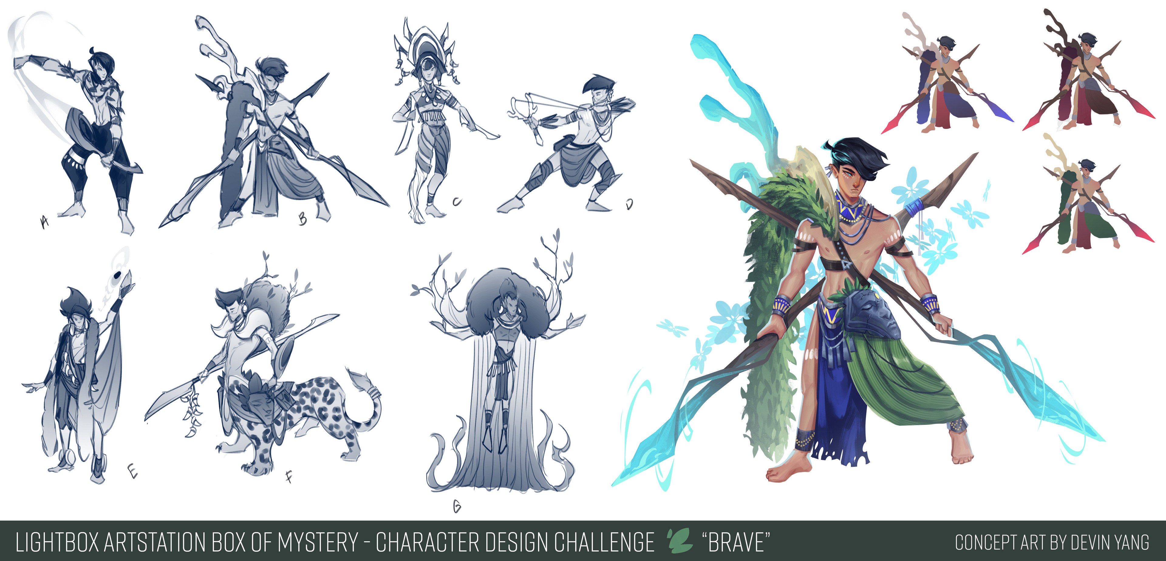 Sketches/exploration + callouts for Brave character