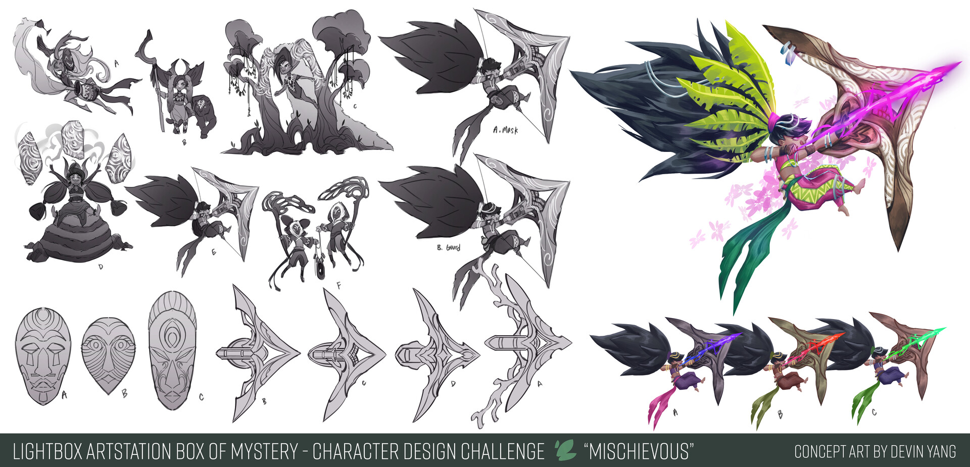 Sketches/exploration + callouts for Mischievous character