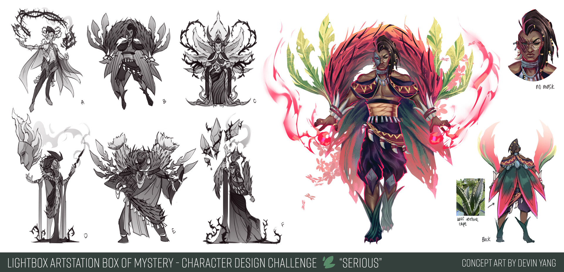 Sketches/exploration + callouts for Serious character
