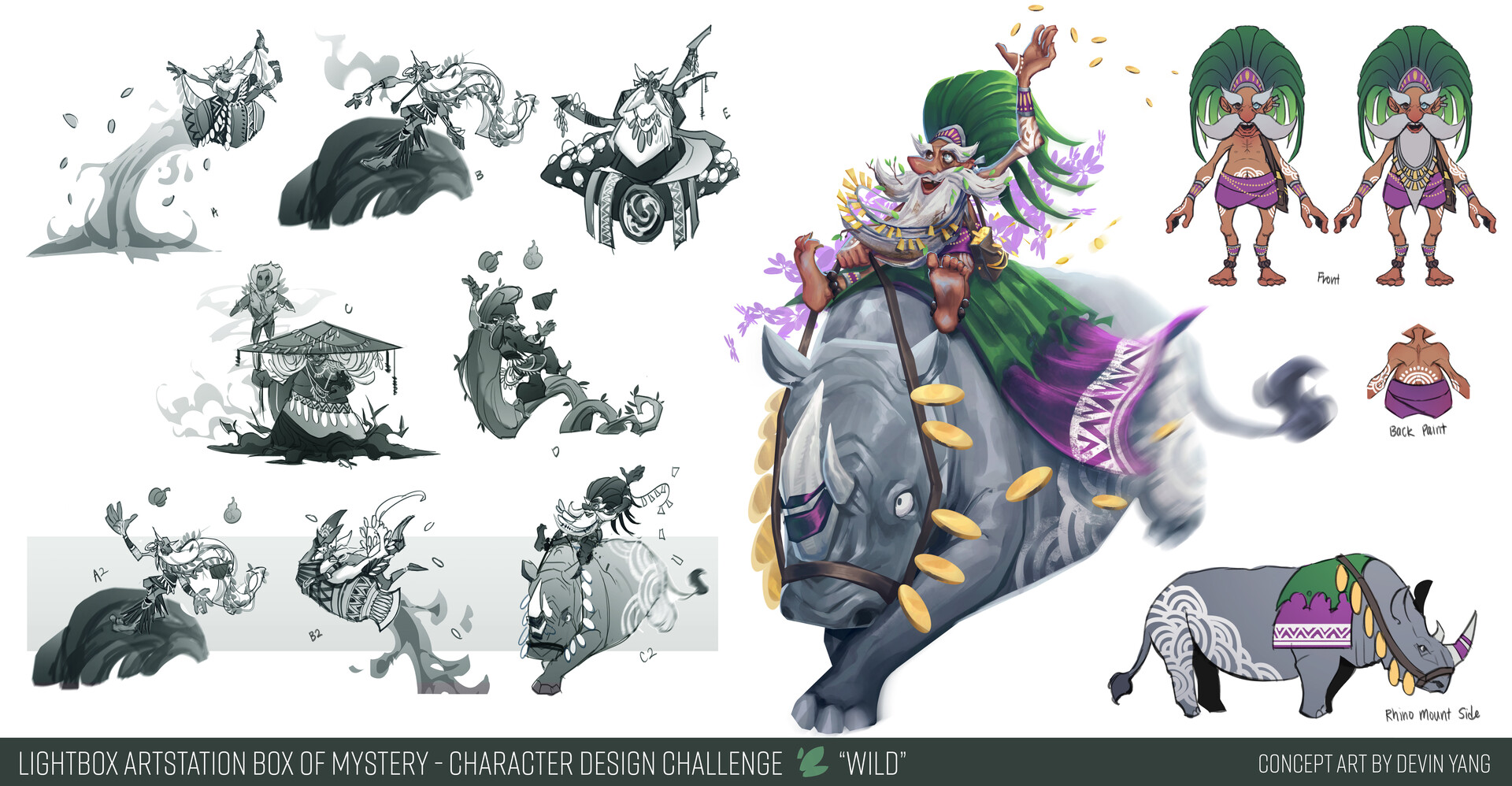Sketches/exploration + callouts for Wild character