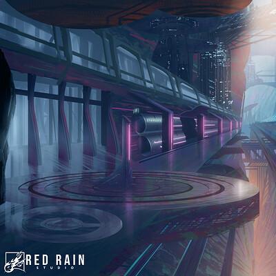 Redrain game studio key art lunar punk 3