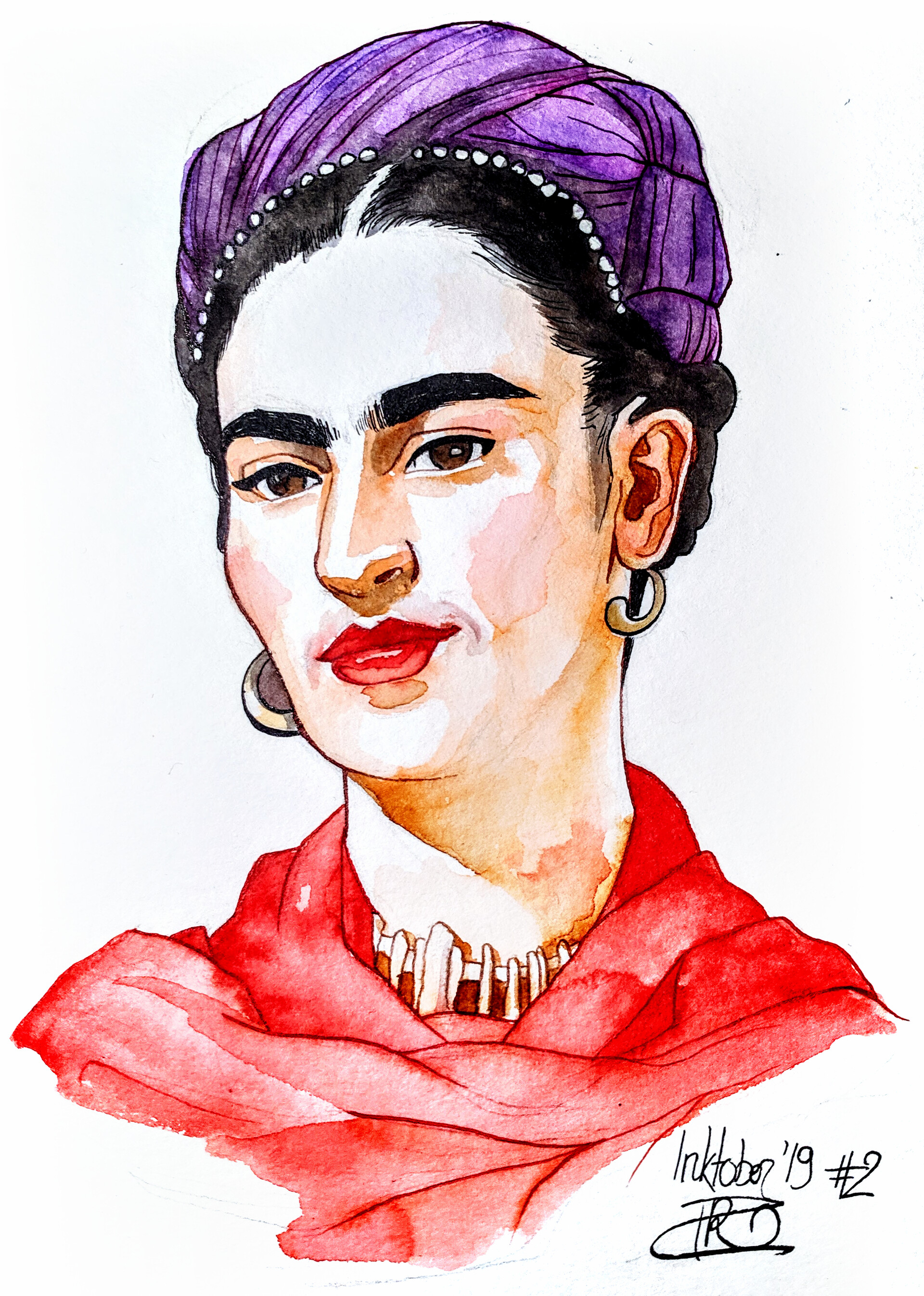 Frida Kahlo - inks and watercolours