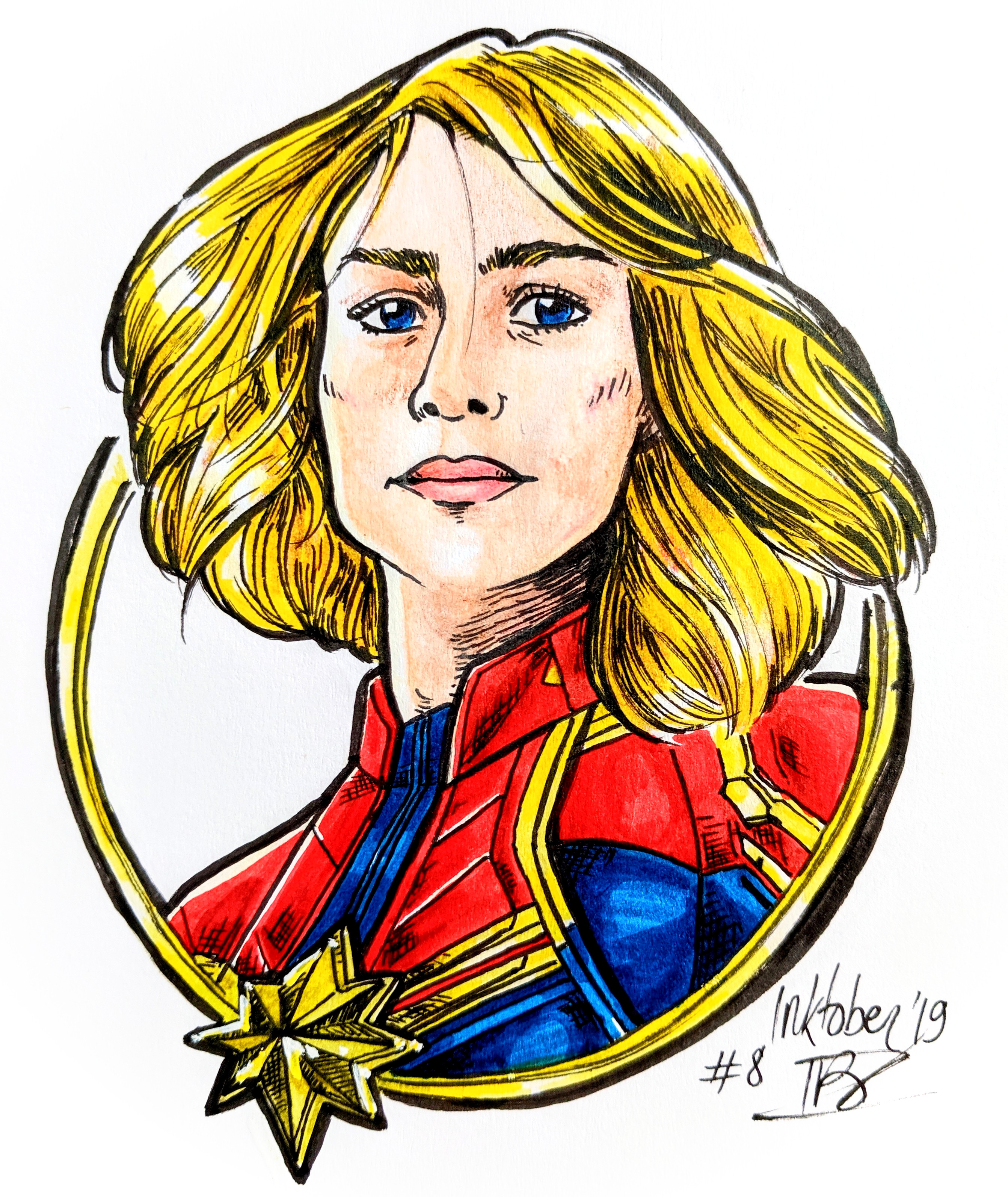 Captain Marvel - Faber Castell markers and colored pencils